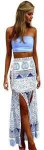 SABO SKIRT Tropical Mermaid Sheer Lace Maxi Skirt Mykonos Blue and White