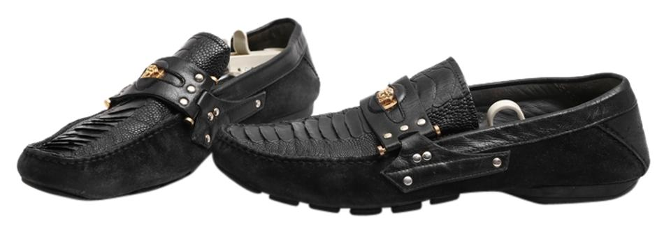 9e7a9c96726 Versace Black Mens Python Suede Studded Penny Loafers - Flats Size ...