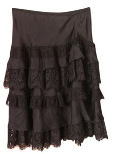 Rebecca Taylor Silk Silk Size Small Tiered Silk Lace Lace Womens Clothing Lace Skirt Black