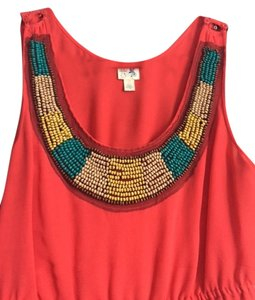 Edme & Esyllte Spring Summer Stylish Top Orange with colored beaded bib
