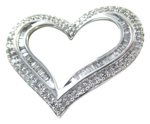 14K SOLID WHITE GOLD PENDANT HEART 107 DIAMONDS 1 CARAT VALENTINES LOVE 3.7 GRM
