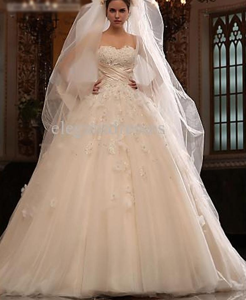 White Tulle And Satin Bow Formal Wedding Dress Size 6 S