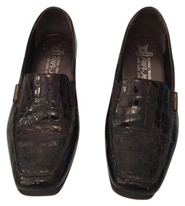 Mephisto Leather Loafer Alligator Print Brown Wedges