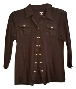 Style & Co Button Down Shirt Black/Silver