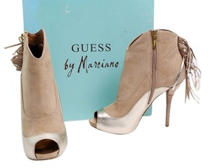 Guess By Marciano Ankle Suede Tassles Leather Tan Boots