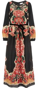 Blac Maxi Dress by RED Valentino Printed Wool Russian Doll Longsleeve Long Full Lightweight Floral Fw 2013 Collection Runway Designer Chic Traditional