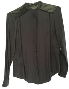 AllSaints Silk Chiffon Top Black