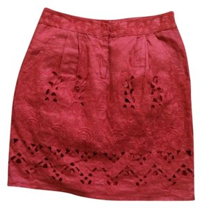 Anthropologie Yoana Baraschi Pencil Embroidered Cut-out Pockets Skirt Orange