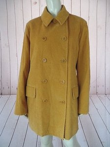 Isaac Mizrahi Coat Cotton Corduroy Double Breasted Trench Lightweight Gold Jacket