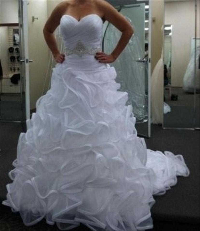 Ruffle Ball Gown Wedding Dress: David's Bridal Ball Gown With Embellished Waist And