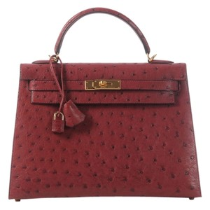 Herms Ostrich Leather Hr.j1112.06 Satchel