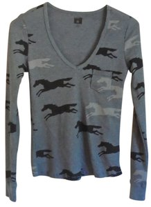 BDG Horse Animal Camo Thermal Top Gray