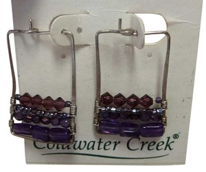 Coldwater Creek Geometric Sterling Amethyst Square Hoop Earrings Sterling Silver