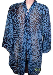 Draper's and Damon's Lepared Turquise Summer Tunic Top turquoise,black leopard
