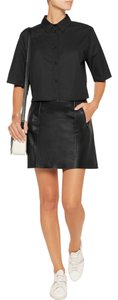 Vince Leather Mini Paneled Mini Skirt Black