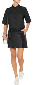 Vince Paneled Leather Mini Mini Skirt Black