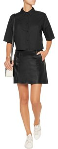 Vince Mini Leather Paneled Mini Skirt Black
