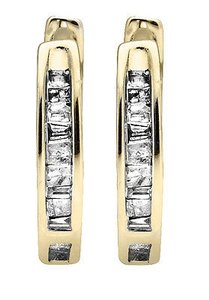 10k Yellow Gold Invisible Set One Row Baguette Cut Diamond Hoop Earring 0.15ct