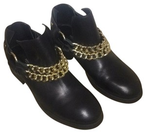 Zara basic collection Black booties with gold chains Boots
