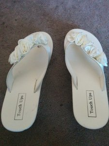 Touch Ups Ivory Wedding Flip Flops With Organza Roses Wedding Shoes