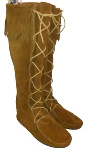 Minnetonka Suede Leather Fringe Tall Native Brown Boots