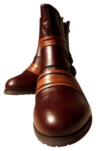 Everybody by BZ Moda Hipster Ankle Leather Italian Moto Nutmeg & Brown Boots