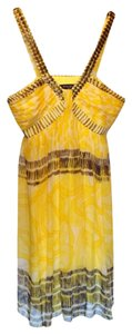 Nine West Gold Hardware Gold Crisscross Strap Halter Flowy Dress