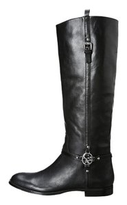 Coach Leather Upper Around Toe Silver Tone Logo And Decorative Small Buckle At Side Half-zipper Closure At Side Lined Lightly Black Boots