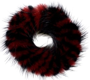 Luxury Furs Reserved. NEW!! LUXE! REAL Mink Red Black Striped Hair Ponytail Holder FREE SHIPPING