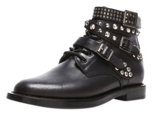 Saint Laurent Studded Leather Combat Black Boots