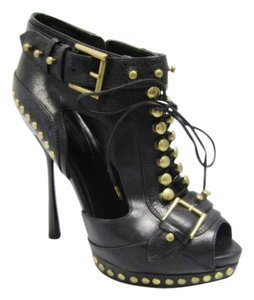 Alexander McQueen Studded Leather Laceup Cutout Open Toe Sandals Sandals Leather Open Toe Sandals Black Boots