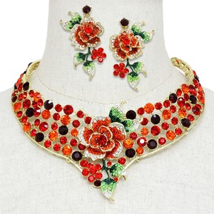 Red Roses Multicolor Crystal Necklace And Earring SET