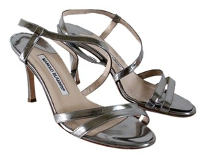 Manolo Blahnik Pageant Heel Formal Heel Silver gunmetal Sandals
