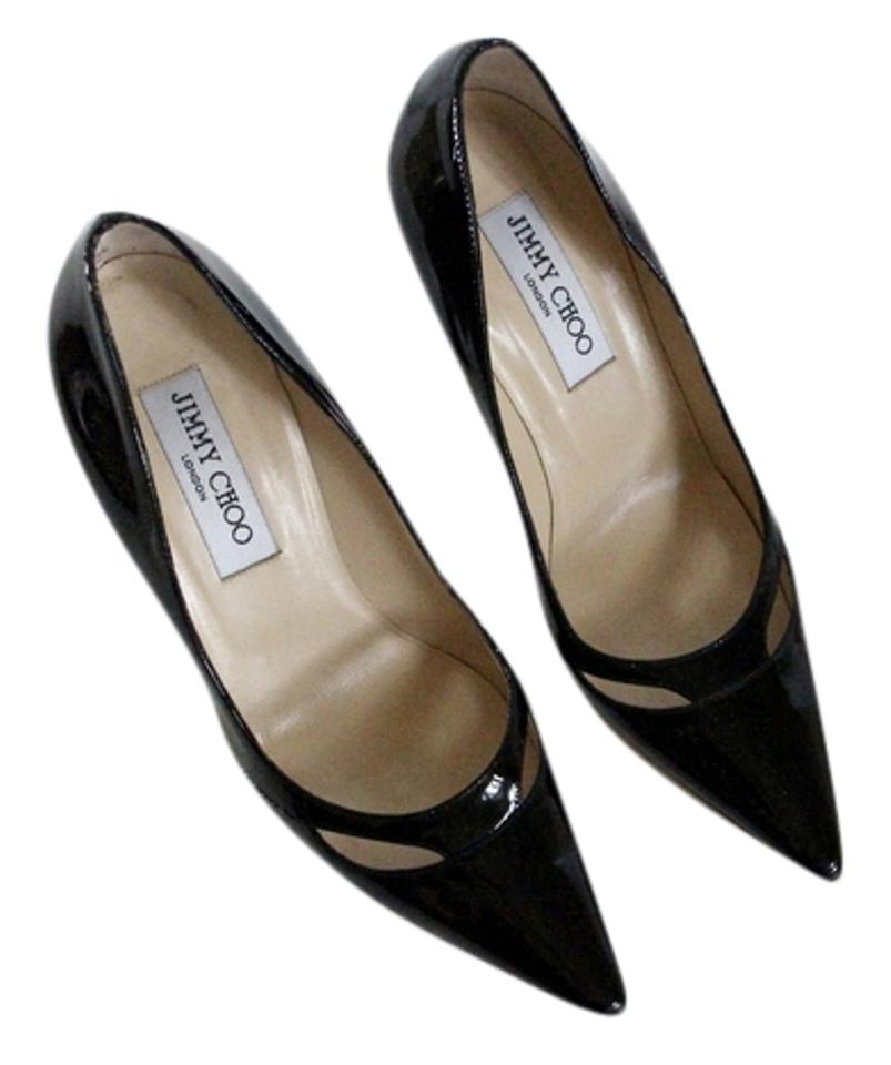 Jimmy Out Choo Black Patent Cut Out Jimmy Pointed Pumps ecfd08