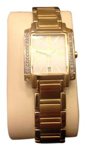 Lucien Piccard Watch-Ladies gold tank style with diamond bezel w/date