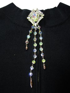 St. John ST. JOHN KNITS SIGNED EVENING TEAR DROP PIN BROOCH SWAROVSKI CRYSTAL SILVER