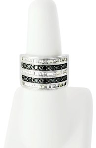 Diamond Ring - White & Black Diamond Ring Size 6.5 - Channel Set Diamond Ring - Wide Band Sterling Ring - Size 6.5 Ring