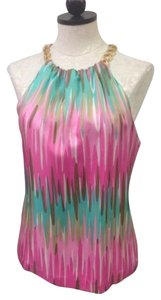 MILLY Of York 100 Silk Pink Green Halter Top