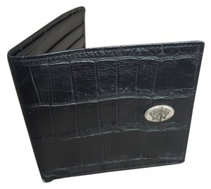 Versace Versace, Men's Alligator/Leather Wallet with metal Versace logo on front