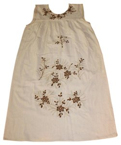 short dress IVORY Hippie 70's Embroidered on Tradesy