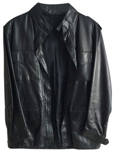 Salvatore Ferragamo Men Motorcycle Black Leather Leather Jacket