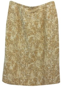 Dana Buchman Linen Silk Pencil Beige Skirt DARK BEIGE