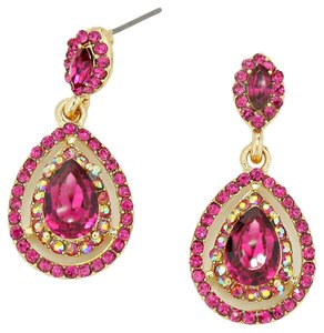 Pink Rhinestone Crystal TearDrop Earrings
