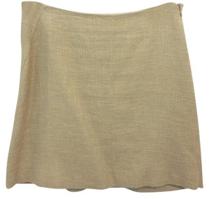Helmut Lang Woven Linen Mini Skirt BROWN
