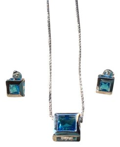 Other Blue Topaz with Sterling Silver Necklace and Earrings Set