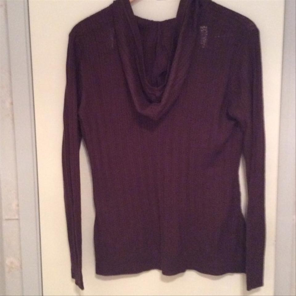 New York Company Brown Cable Knit Hooded Sweaterpullover Size 8