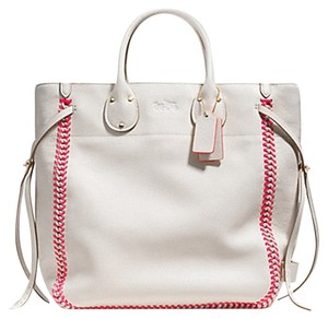 Coach 35156 Atum Tall Tote in Chalk / Neon Pink