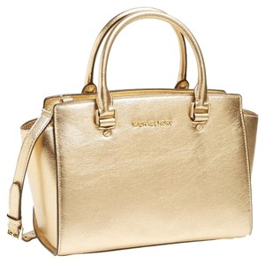 Michael Kors Saffiano Leather Mk Signature Large Selma Top Zip Saffiano Leather Handbag Gold Leather Satchel in pale gold