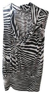 Express Cowl Neck Top Black and White / Zebra