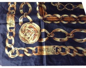 Marcello Vintage MARCELLO italian silk scarf black with gold chain